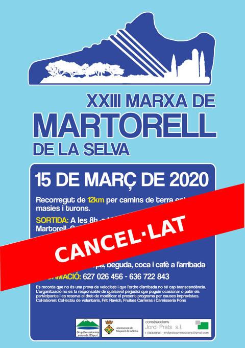 INFORMACIÓ IMPORTANT: 23ª Marxa Popular de Martorell cancel·lada